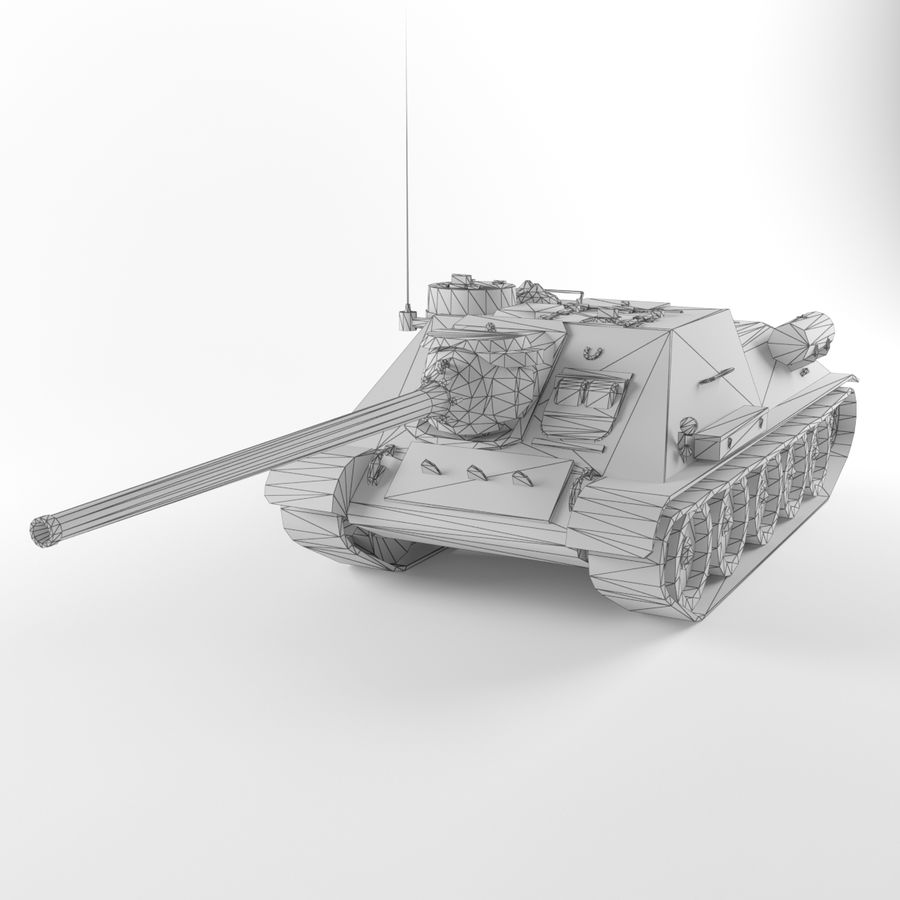 Captured Soviet tank SU-100 royalty-free 3d model - Preview no. 9