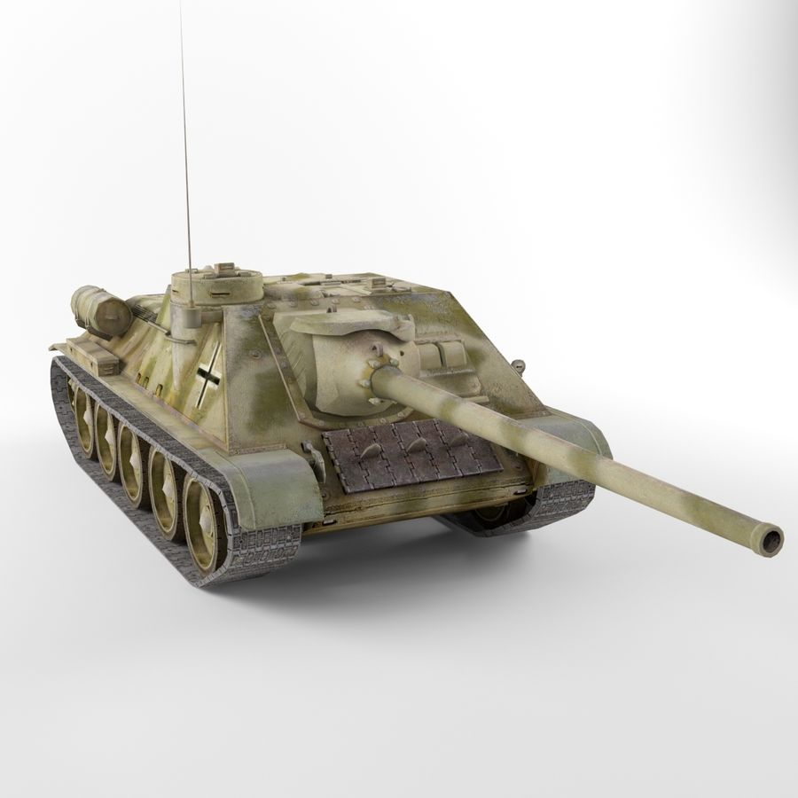 Captured Soviet tank SU-100 royalty-free 3d model - Preview no. 4