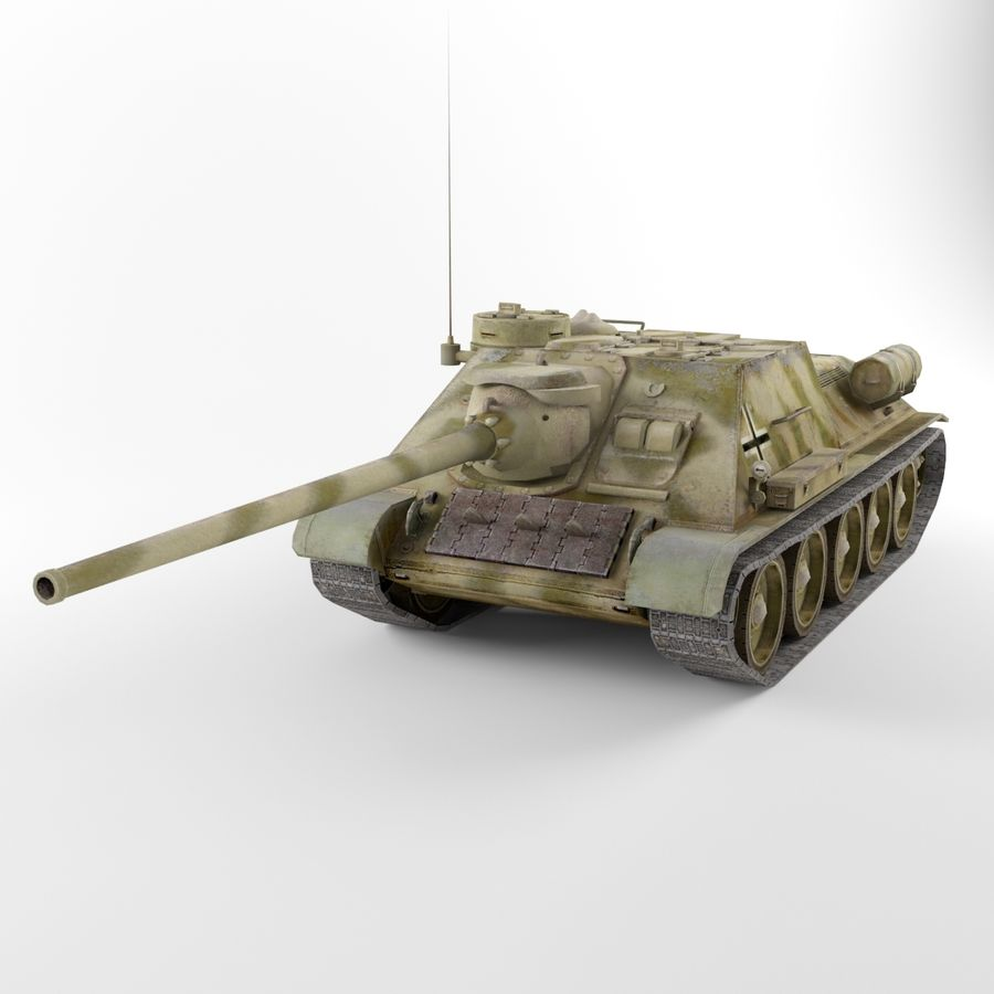 Captured Soviet tank SU-100 royalty-free 3d model - Preview no. 2