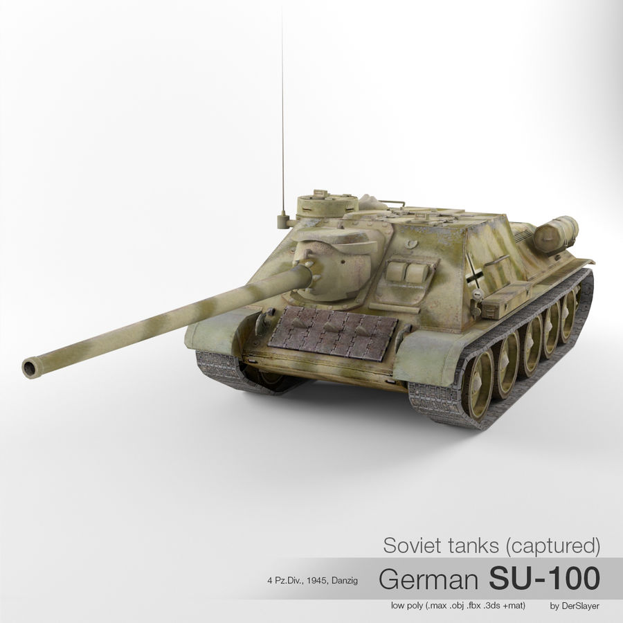 Captured Soviet tank SU-100 royalty-free 3d model - Preview no. 1