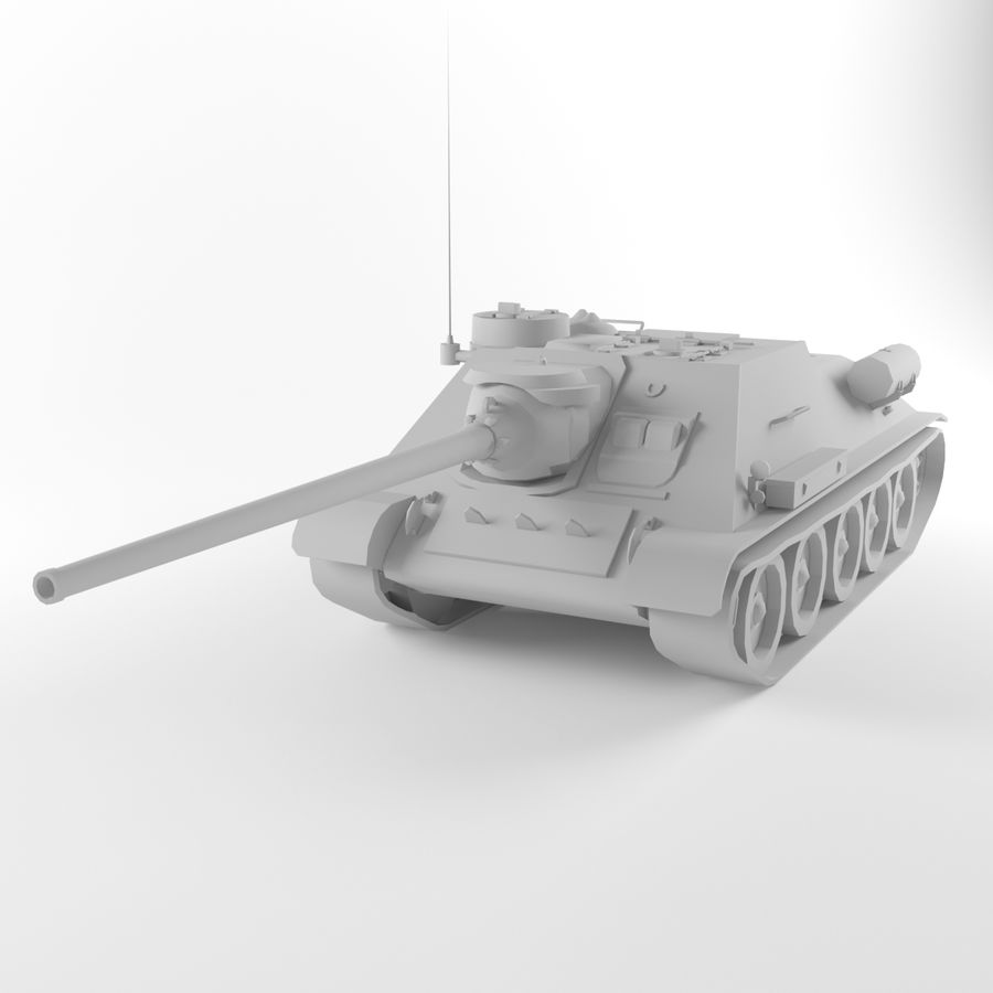 Captured Soviet tank SU-100 royalty-free 3d model - Preview no. 8