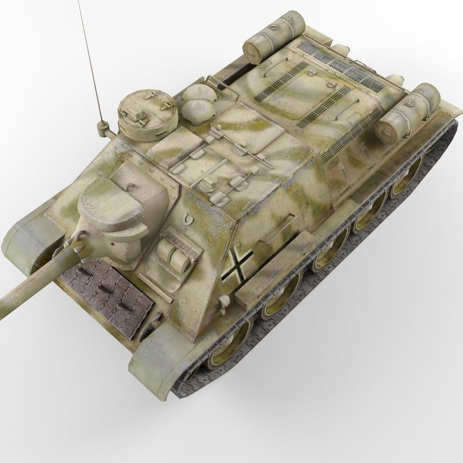 Captured Soviet tank SU-100 royalty-free 3d model - Preview no. 7