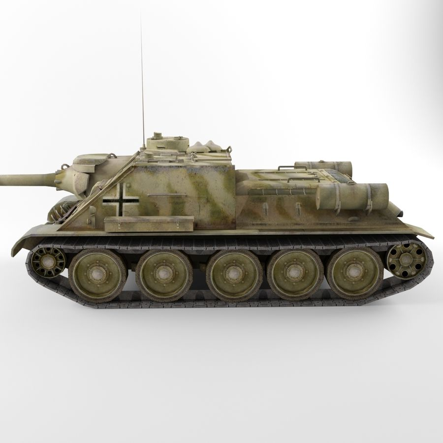 Captured Soviet tank SU-100 royalty-free 3d model - Preview no. 6