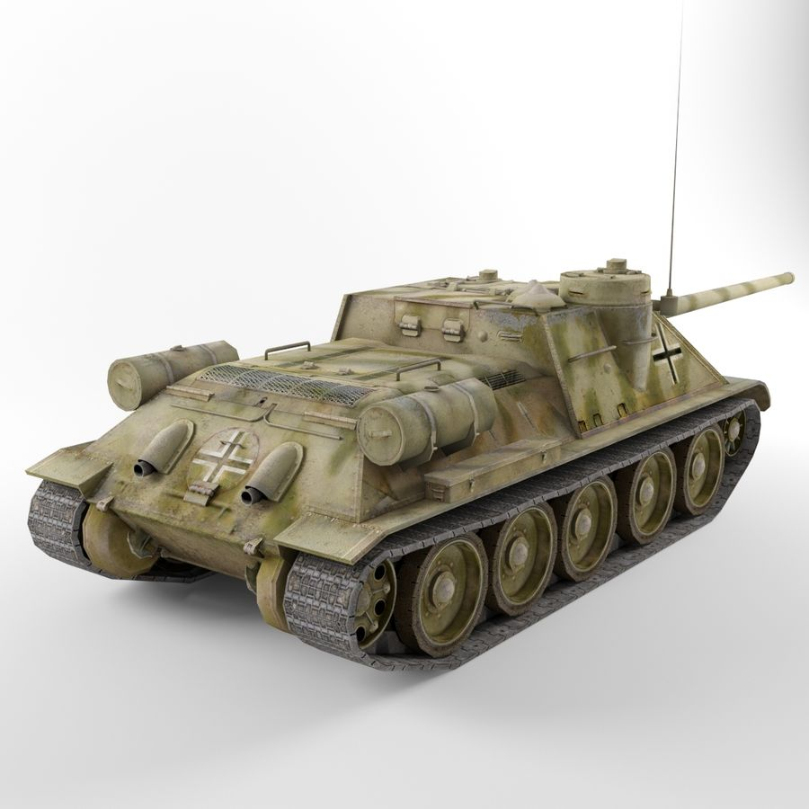 Captured Soviet tank SU-100 royalty-free 3d model - Preview no. 5