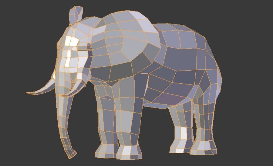 African Elephant Low Poly royalty-free 3d model - Preview no. 9
