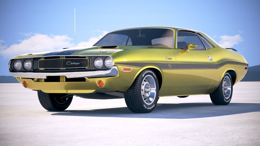 Dodge Challenger 1970 with interior royalty-free 3d model - Preview no. 13