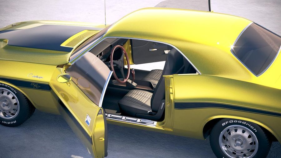 Dodge Challenger 1970 with interior royalty-free 3d model - Preview no. 21