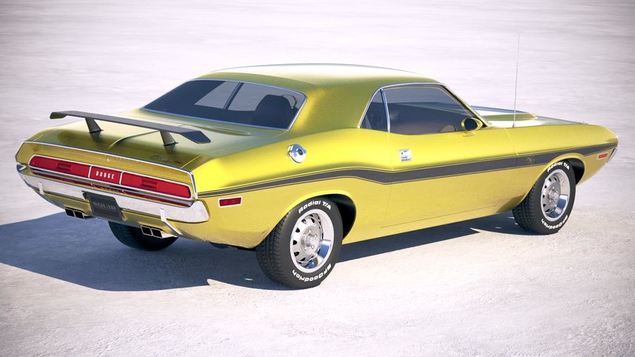 Dodge Challenger 1970 with interior royalty-free 3d model - Preview no. 5