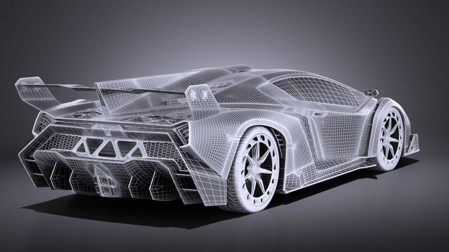 Lamborghini Veneno 2016 VRAY royalty-free 3d model - Preview no. 14