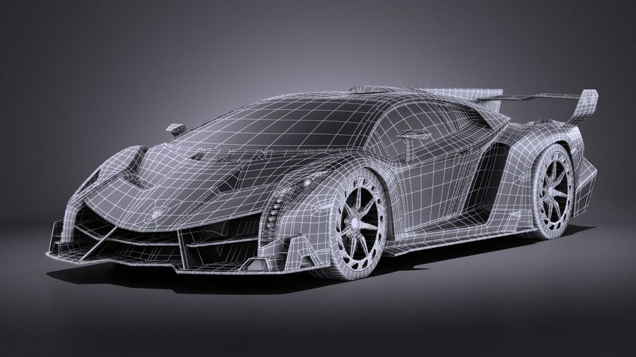 Lamborghini Veneno 2016 VRAY royalty-free 3d model - Preview no. 15