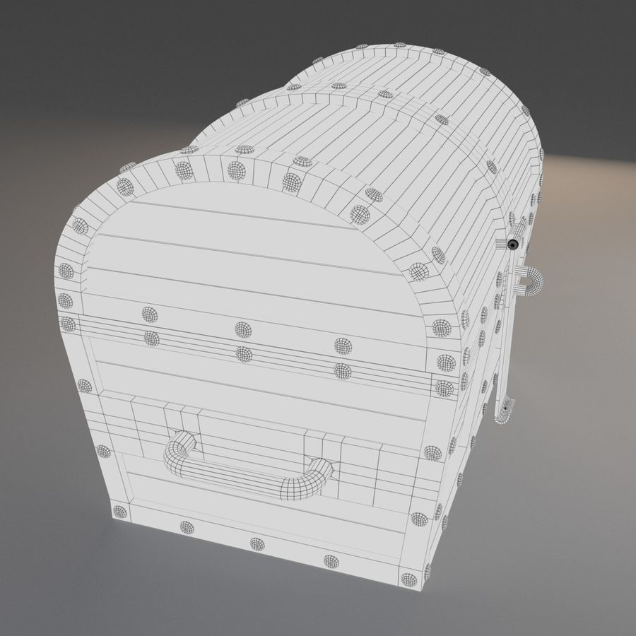 Old Chest royalty-free 3d model - Preview no. 6