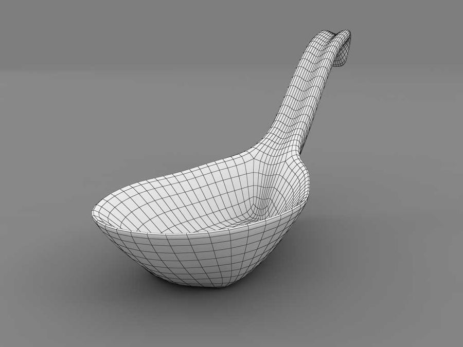 Chinese spoon royalty-free 3d model - Preview no. 7