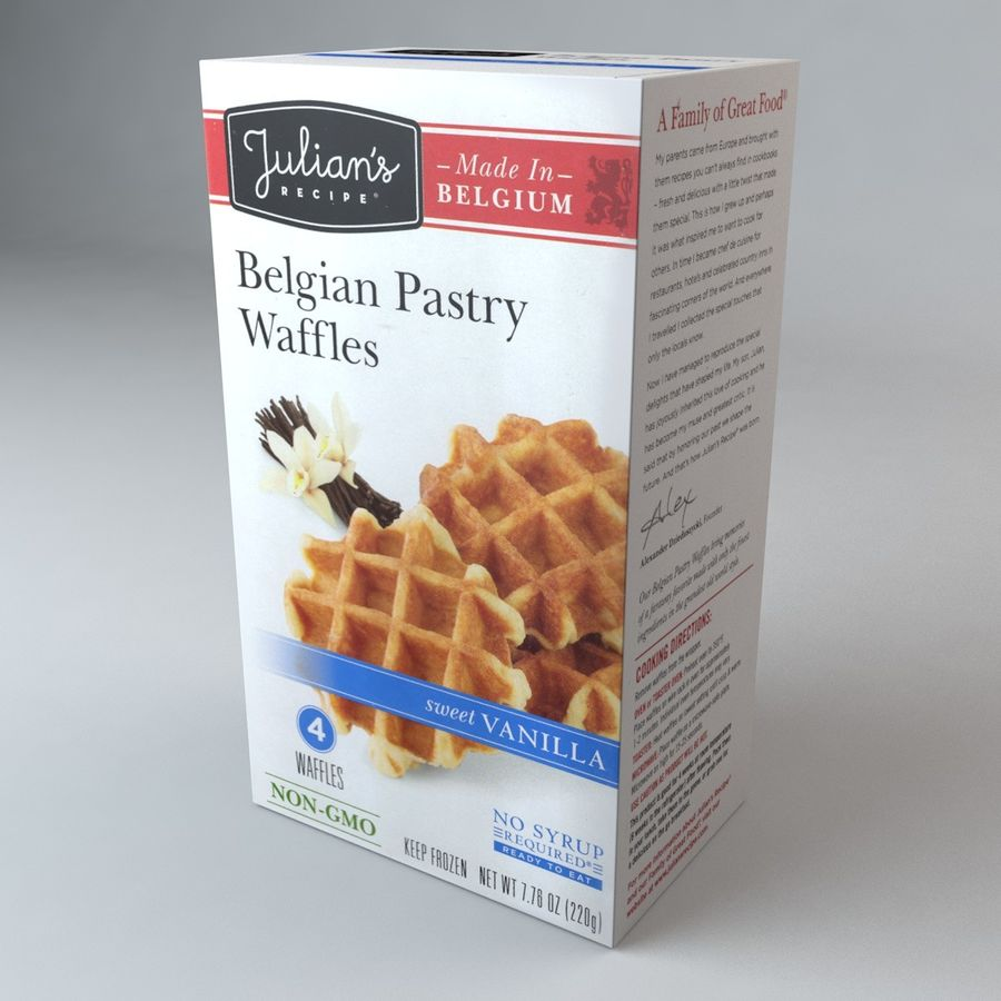 Belgian Pastry Waffles royalty-free 3d model - Preview no. 2