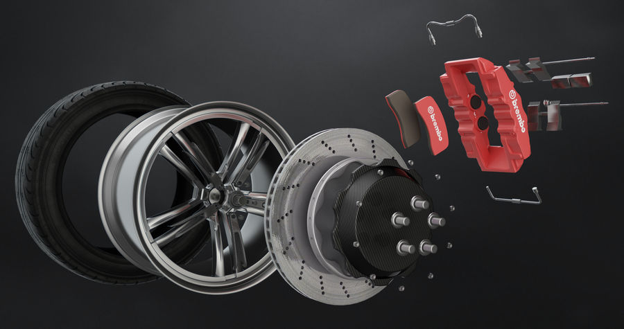 Pneumatico Yokohama avs es100 + impianto frenante Brembo royalty-free 3d model - Preview no. 2