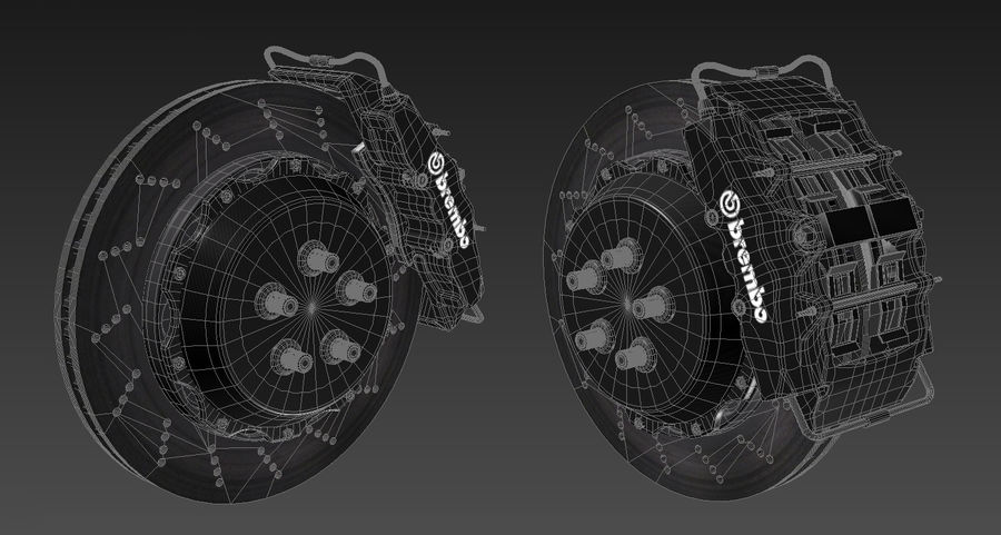 Pneumatico Yokohama avs es100 + impianto frenante Brembo royalty-free 3d model - Preview no. 16