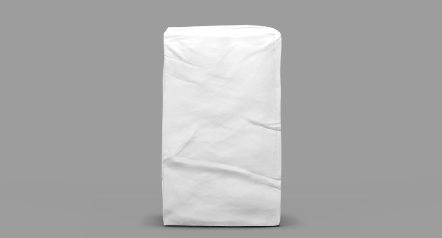 White Paper Bag royalty-free 3d model - Preview no. 3