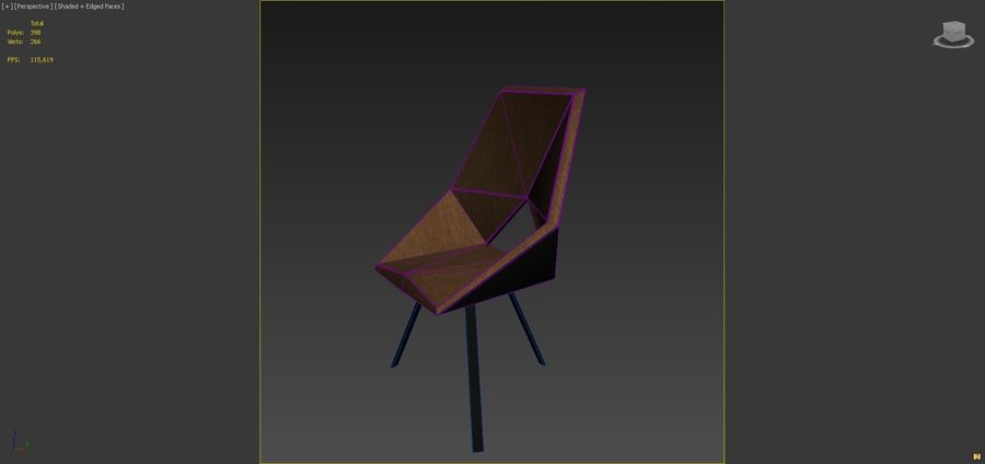 Geometric Wooden Armchair royalty-free 3d model - Preview no. 6
