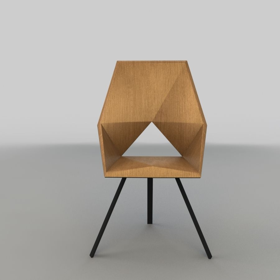 Geometric Wooden Armchair royalty-free 3d model - Preview no. 2