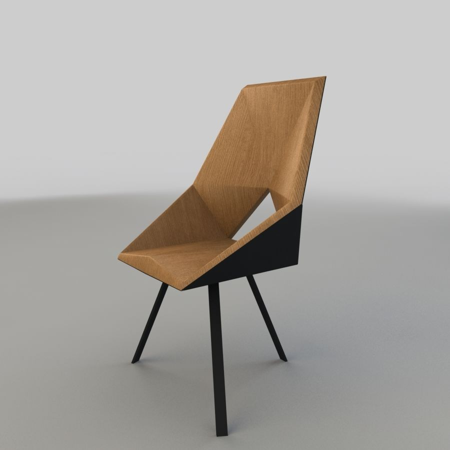 Geometric Wooden Armchair royalty-free 3d model - Preview no. 3
