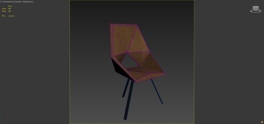 Geometric Wooden Armchair royalty-free 3d model - Preview no. 5