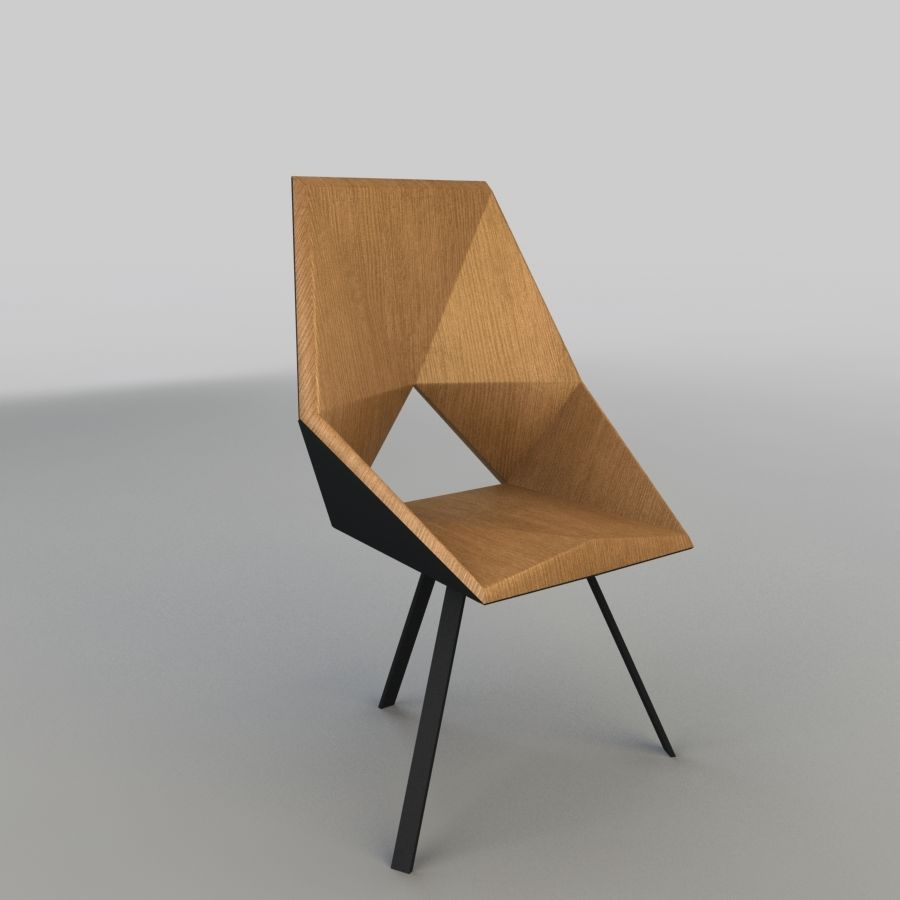 Geometric Wooden Armchair royalty-free 3d model - Preview no. 1