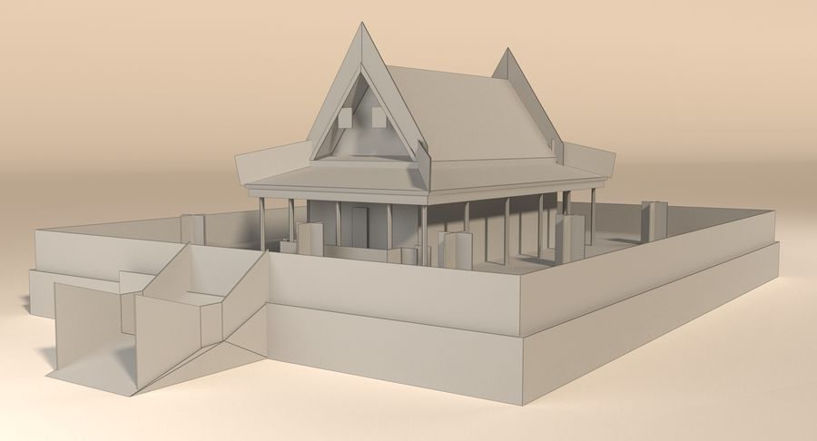 Asiatiskt tempel royalty-free 3d model - Preview no. 13