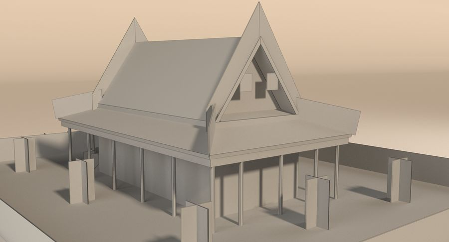Asiatiskt tempel royalty-free 3d model - Preview no. 15