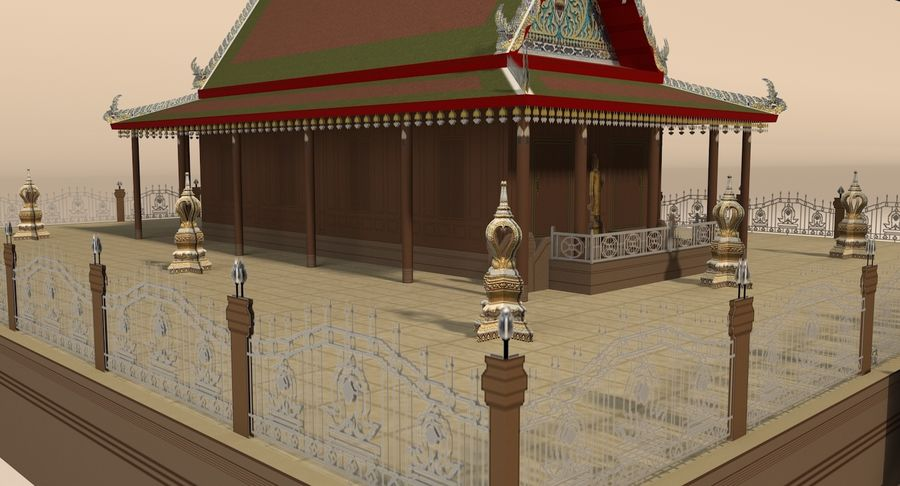 Asiatiskt tempel royalty-free 3d model - Preview no. 10