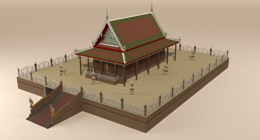 Asian temple royalty-free 3d model - Preview no. 8