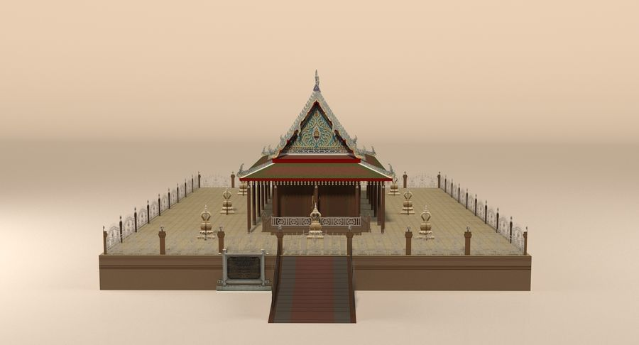 Asiatiskt tempel royalty-free 3d model - Preview no. 4