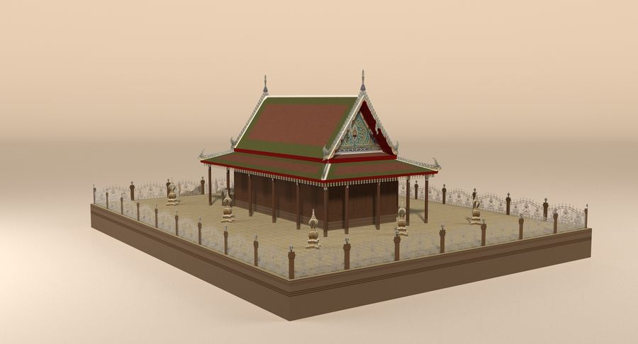 Asiatiskt tempel royalty-free 3d model - Preview no. 5