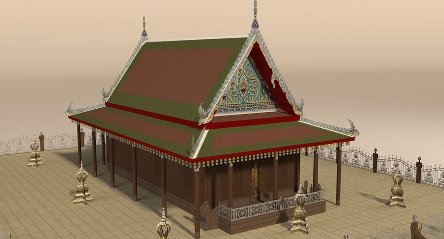 Asian temple royalty-free 3d model - Preview no. 11
