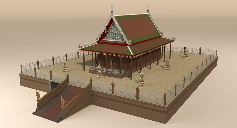 Asiatiskt tempel royalty-free 3d model - Preview no. 2