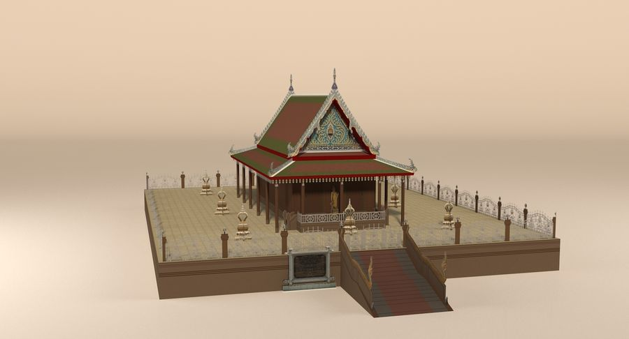 Asiatiskt tempel royalty-free 3d model - Preview no. 3