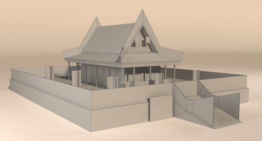 Asiatiskt tempel royalty-free 3d model - Preview no. 12