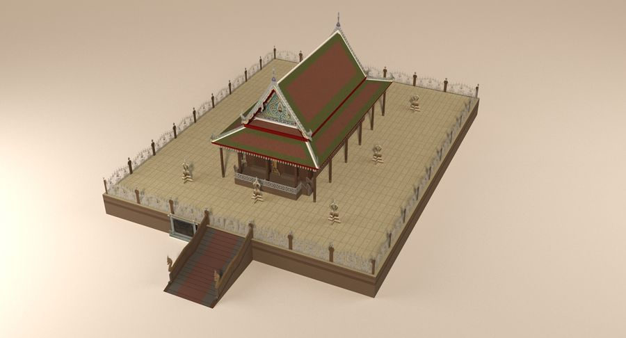 Asian temple royalty-free 3d model - Preview no. 6