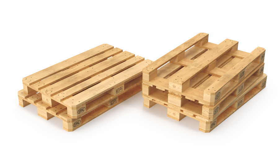 Wood Euro Pallet royalty-free 3d model - Preview no. 5