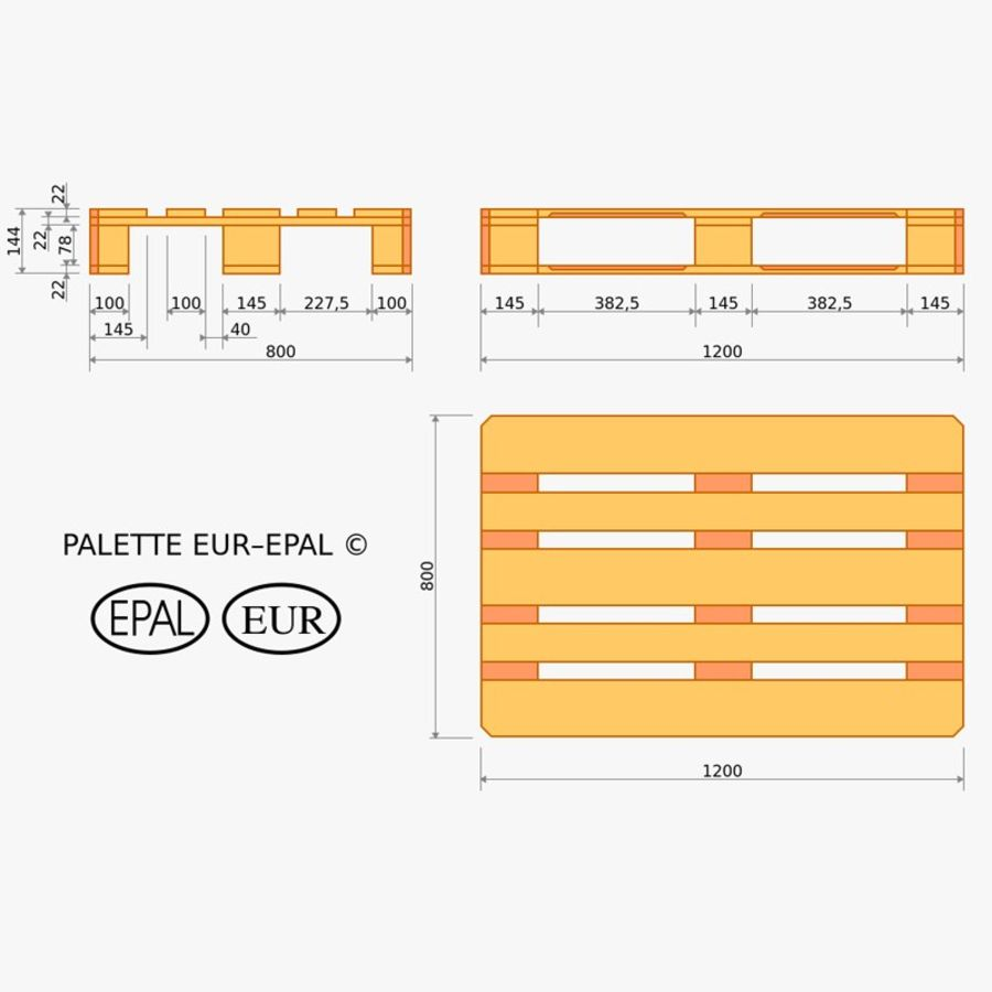 Wood Euro Pallet royalty-free 3d model - Preview no. 15