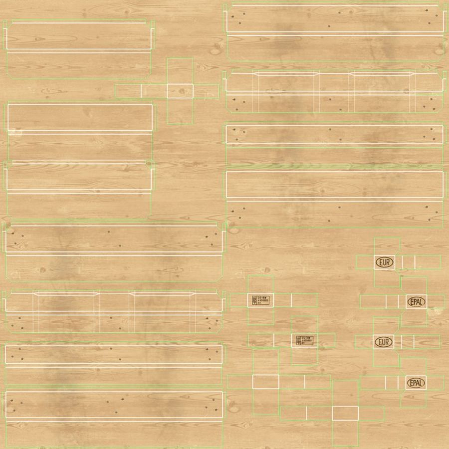 Wood Euro Pallet royalty-free 3d model - Preview no. 14