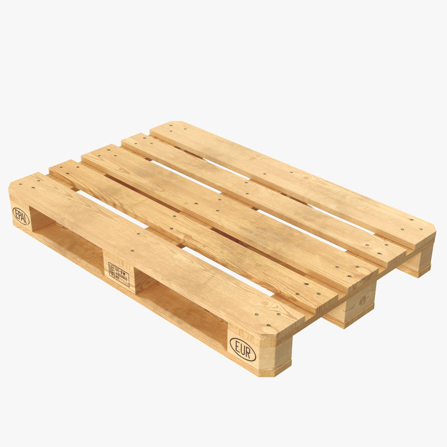 Wood Euro Pallet royalty-free 3d model - Preview no. 1