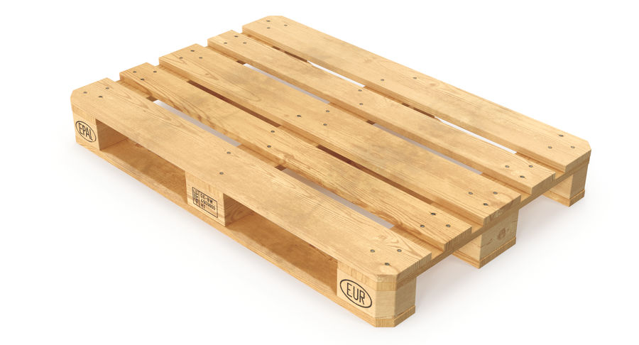 Wood Euro Pallet royalty-free 3d model - Preview no. 2