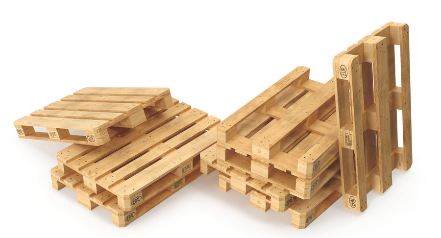 Wood Euro Pallet royalty-free 3d model - Preview no. 6