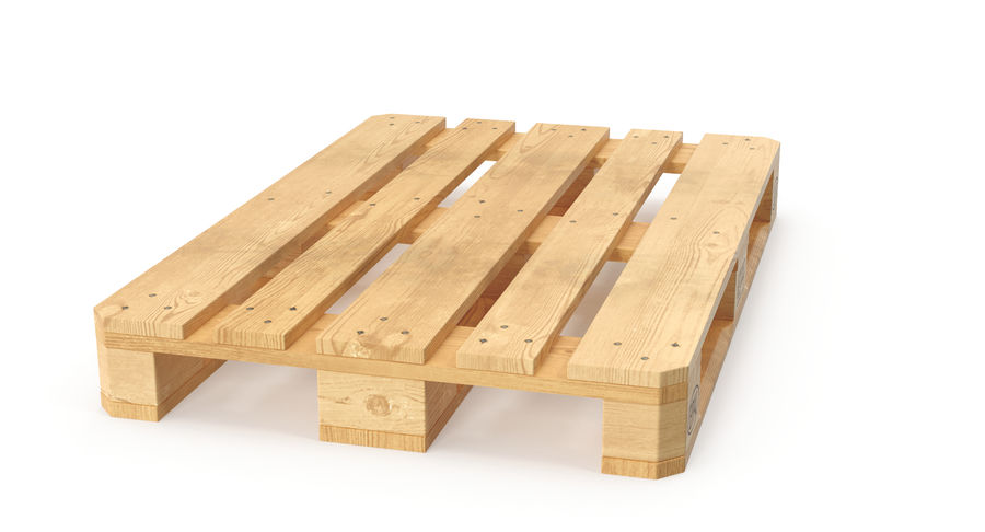 Wood Euro Pallet royalty-free 3d model - Preview no. 4