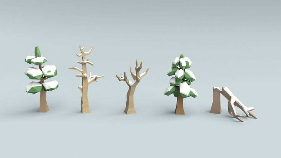 Low poly winter trees royalty-free 3d model - Preview no. 1