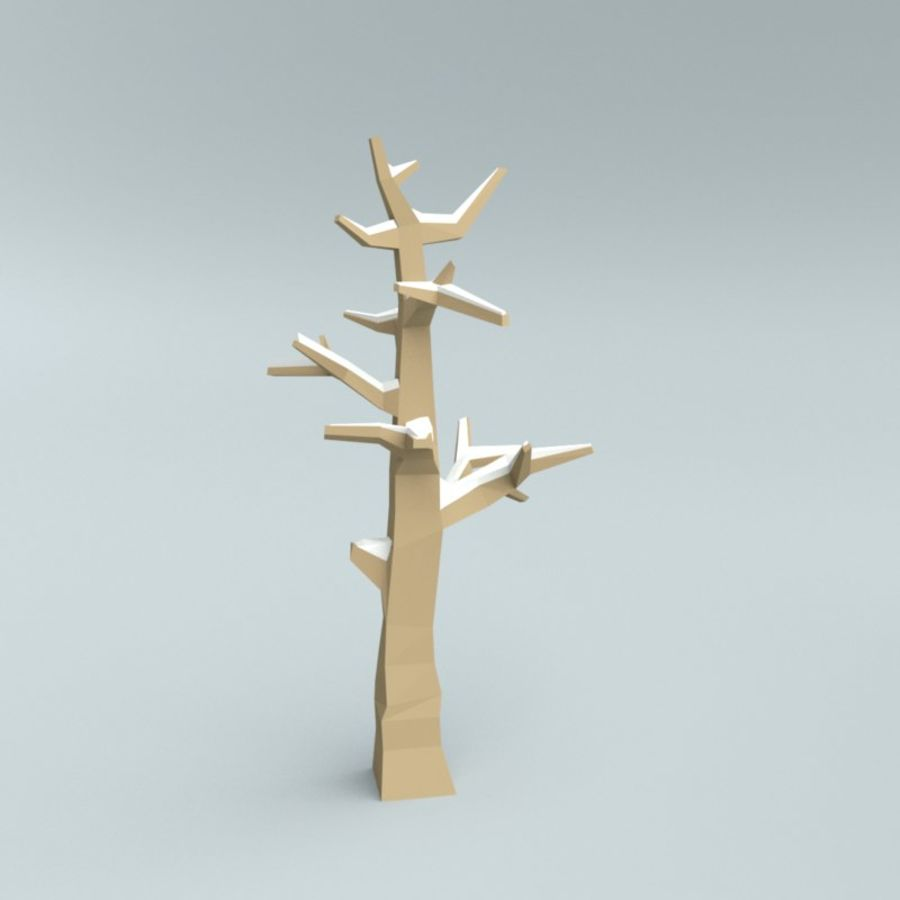 Low poly winter trees royalty-free 3d model - Preview no. 4