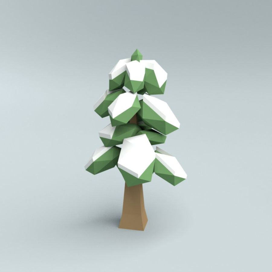 Low poly winter trees royalty-free 3d model - Preview no. 8