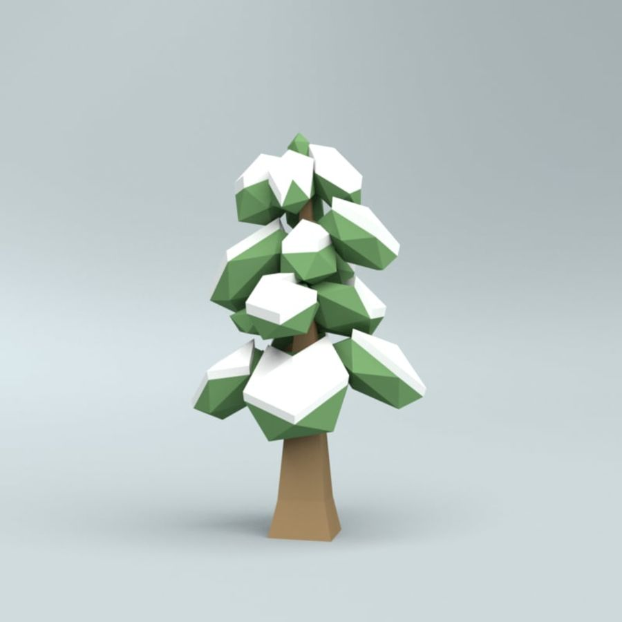 Low poly winter trees royalty-free 3d model - Preview no. 9