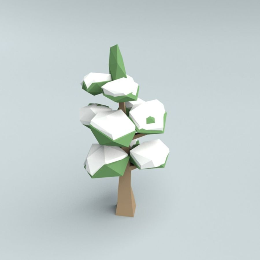 Low poly winter trees royalty-free 3d model - Preview no. 2