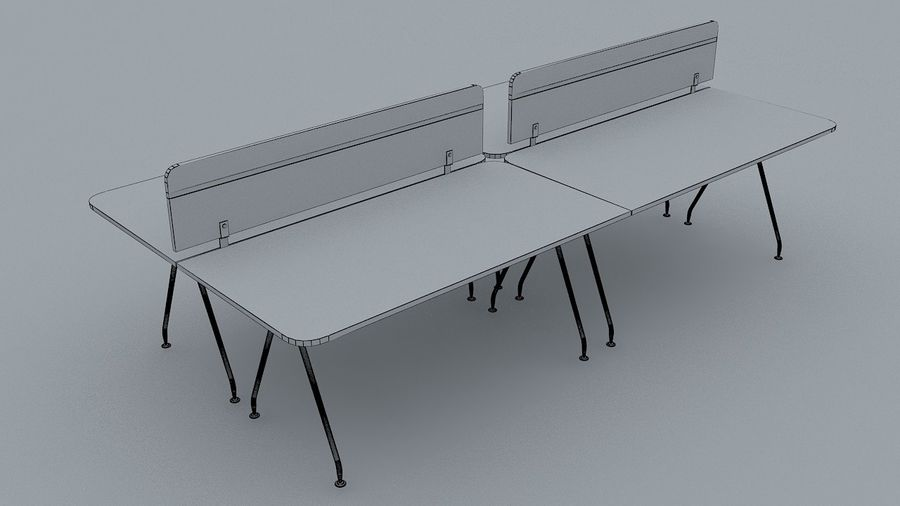 Ikea Style Modern Office Table Furniture royalty-free 3d model - Preview no. 5