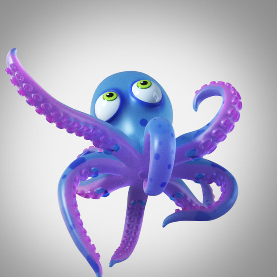 Cartoon octopus royalty-free 3d model - Preview no. 6